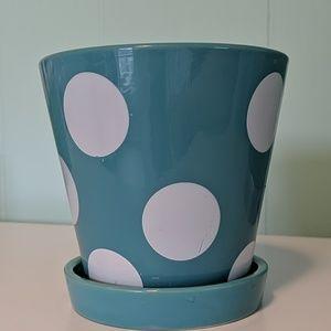 Other - Blue & White Polka Dot Flower Pot